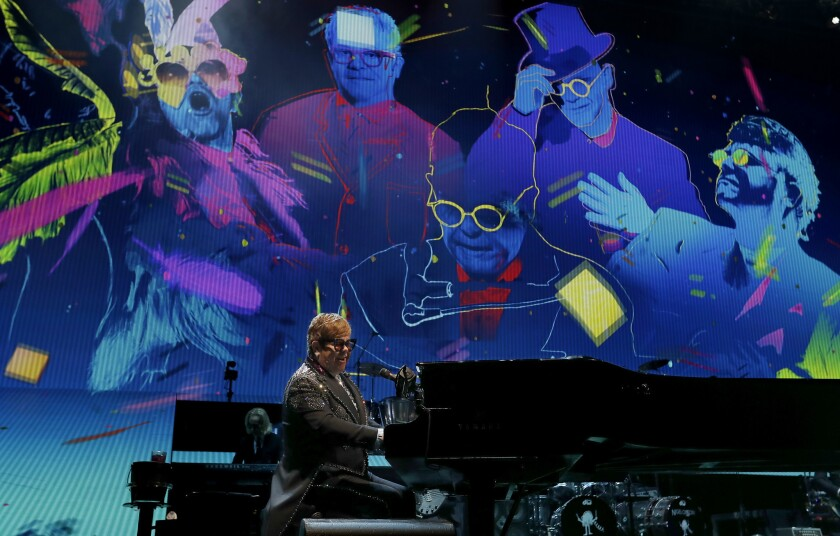"""LOS ANGELES, CALIF. - JAN 22, 2019. Rock legend Elton John opens with """"Bennie and Jets"""" during the f"""