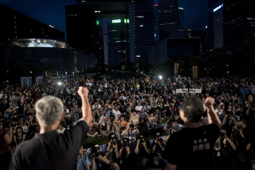 Activists for democracy stage a mass protest near Hong Kong's government complex.