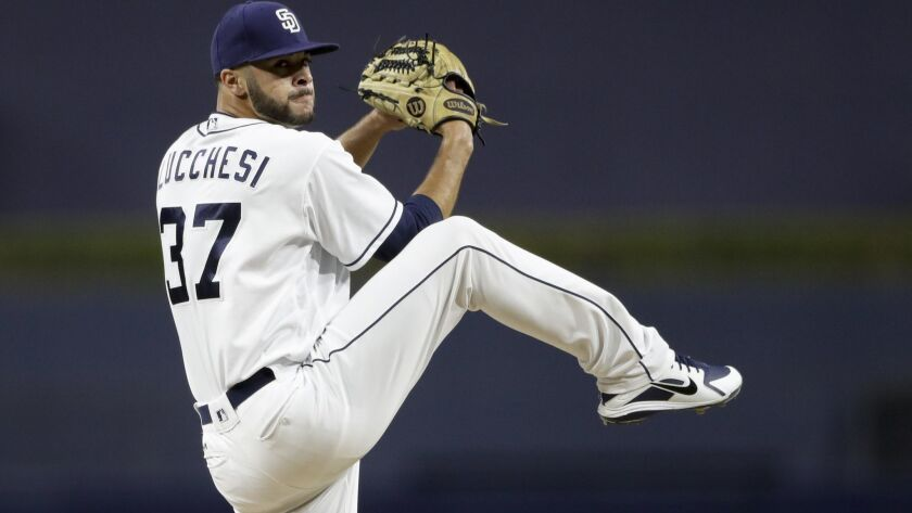 Padres starting pitcher Joey Lucchesi works against a San Francisco Giants batter during the second inning of a baseball game Tuesday, Sept. 18, 2018, in San Diego.