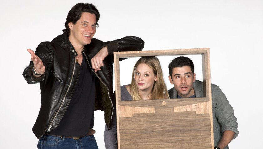 "Heath Calvert, Jenni Barber and Adam Kantor (left to right) star in the Old Globe's world-premiere musical ""Nobody Loves You."""