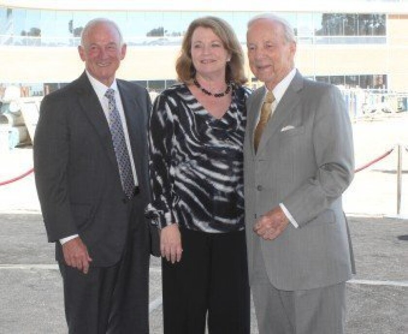 Former San Diego Mayor Jerry Sanders, who will serve as Prebys Cardiovascular Institute's new capital campaign chair, with Debbie Turner and Conrad Prebys.