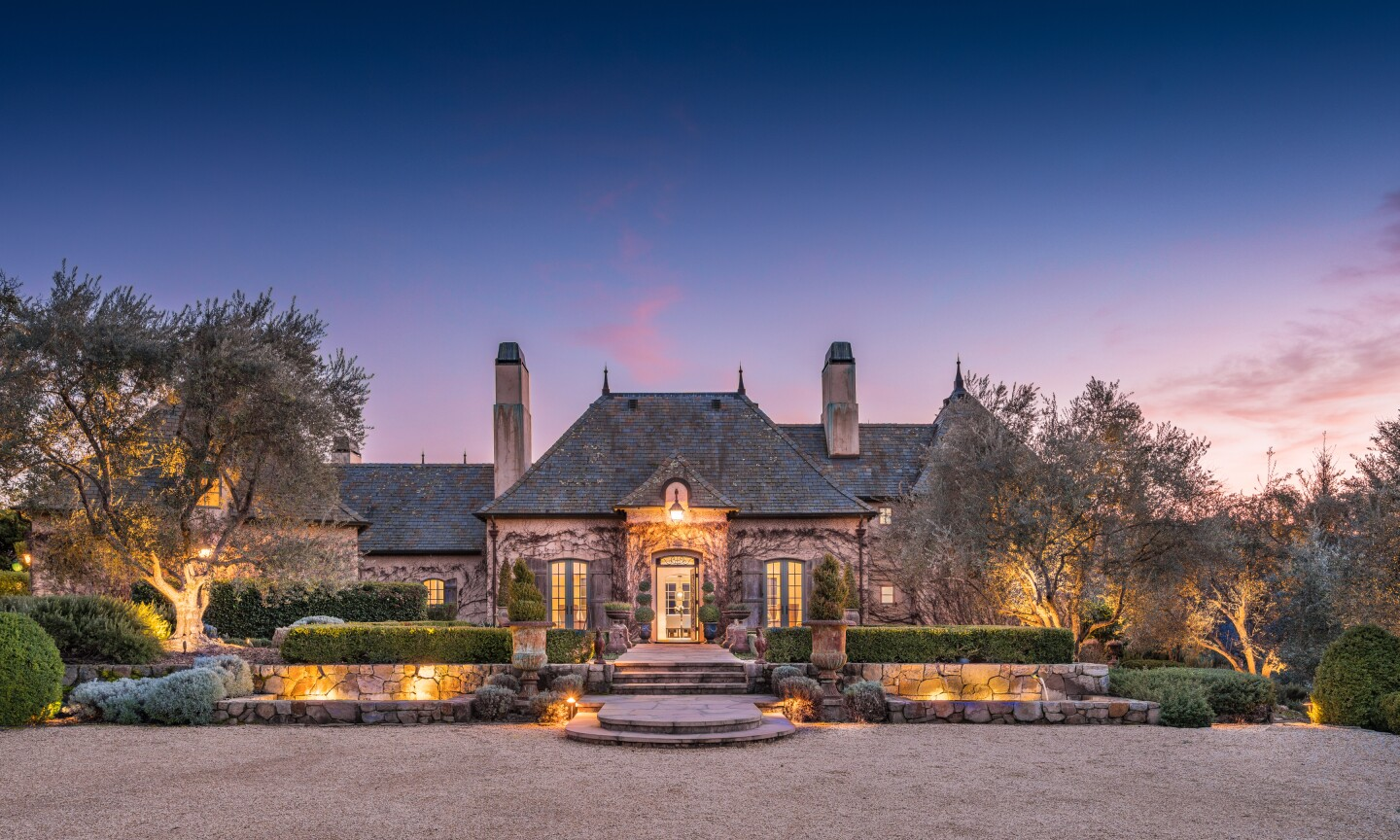 The 47-acre estate holds a European-style home, a guesthouse, a swimming pool and an olive grove.