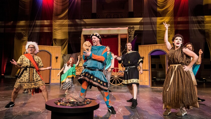 """The Troubadour Theater Company lets the gags fly in """"Haunted House Party: A Roman Comedy,"""" adapted from Plautus' """"Mostellaria."""""""