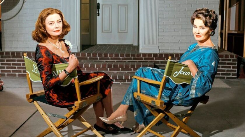 "Susan Sarandon, left, as Bette Davis and Jessica Lange as Joan Crawford in ""Feud: Bette and Joan."""