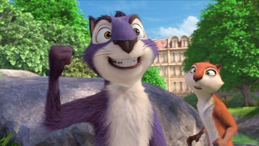 "Surly (voiced by Will Arnett), left, and Andy (voiced by Katherine Heigel) in ""Nut Job 2: Nutty by Nature."""