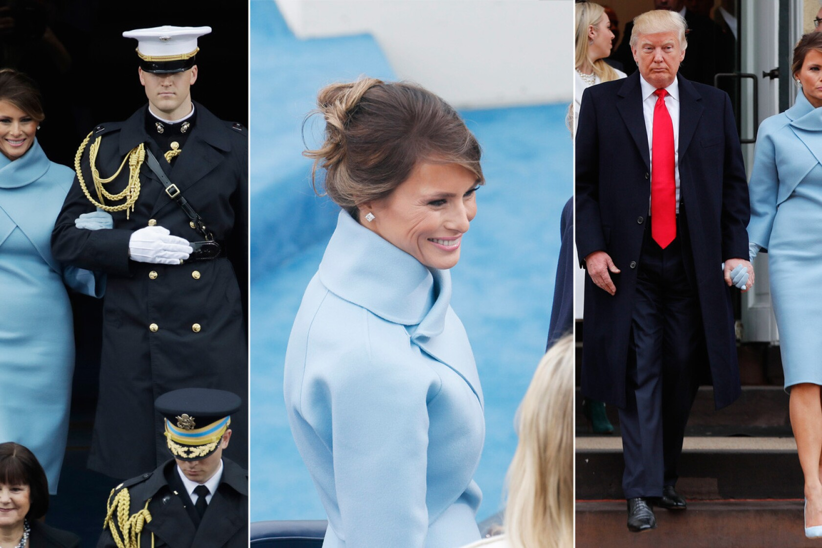 Inauguration Fashion From Ralph Lauren S Melania And Hillary Two Fer To Kellyanne Conway S Military Cats Los Angeles Times