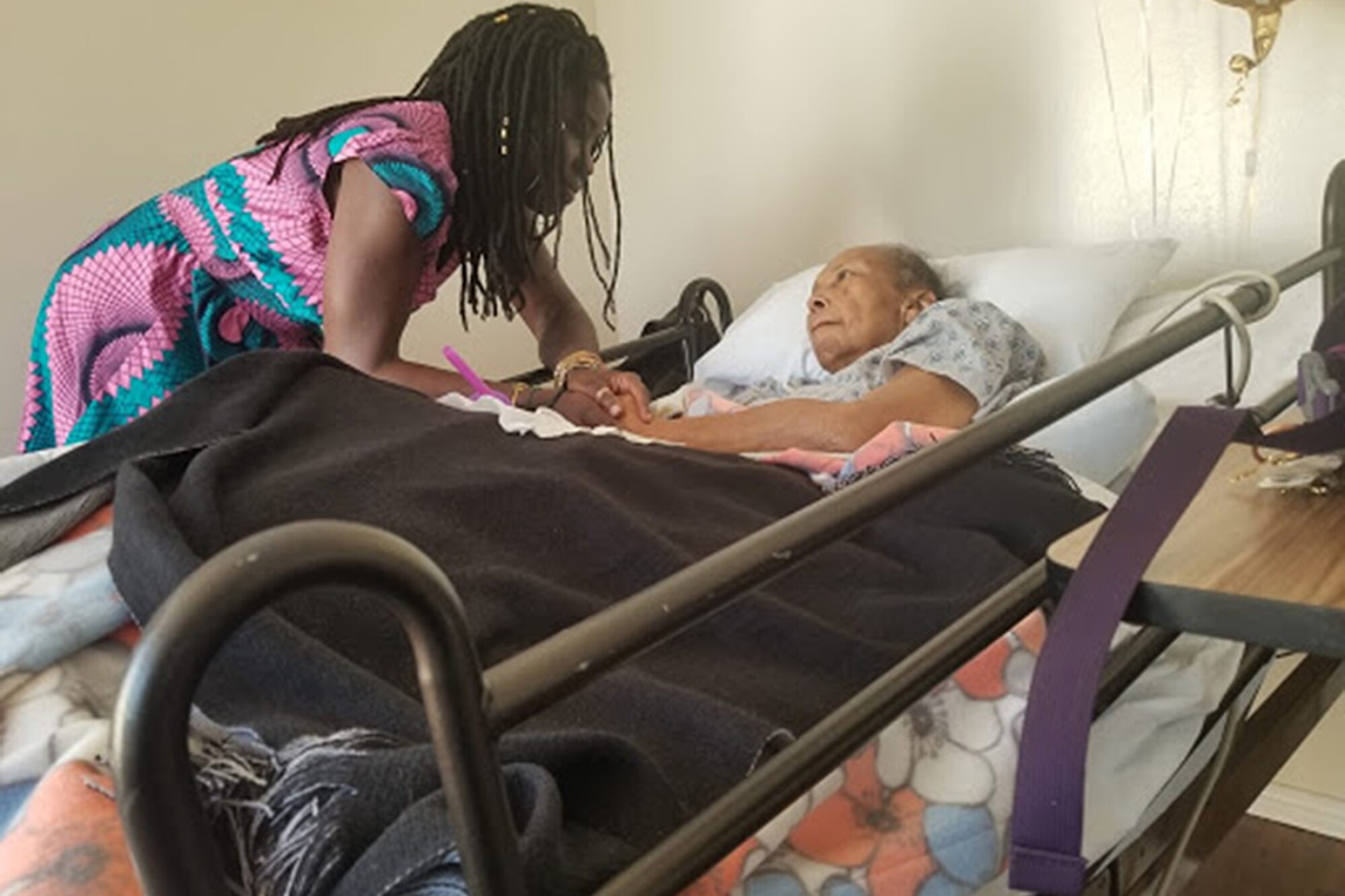 """Alua Arthur, a death doula, works with Beverly Leacock, whom she addresses as Ms. Beverly as """"an important sign of respect."""""""