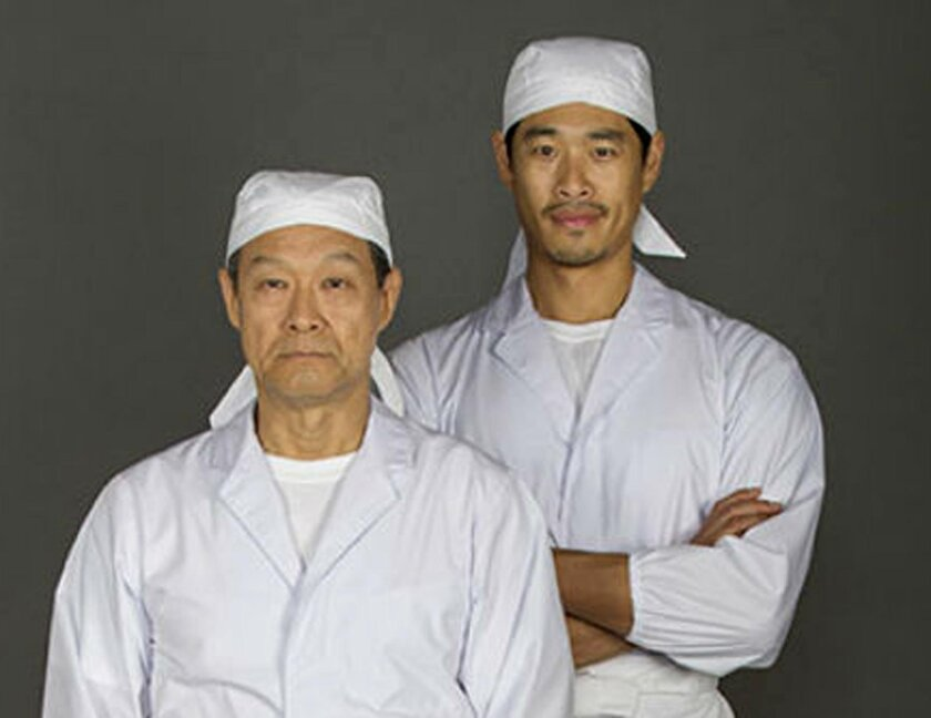 James Saito stars as Koji and Tim Chiou as Takashi in 'Tokyo Fish Story' at The Old Globe through June 26.