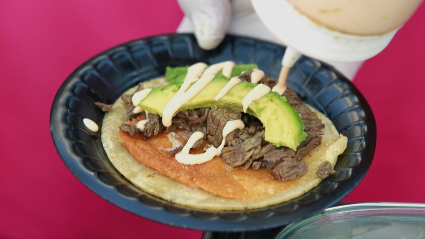 Street taco at the Lucha Libre stand at Petco Park