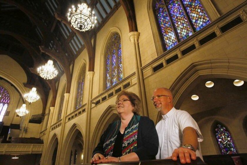 The Rev. Kathy Cooper-Ledesma and the Rev. Dave Stambaugh in the Hollywood United Methodist Church. The pastors encourage filming at the church because many of their members work in the entertainment industry.