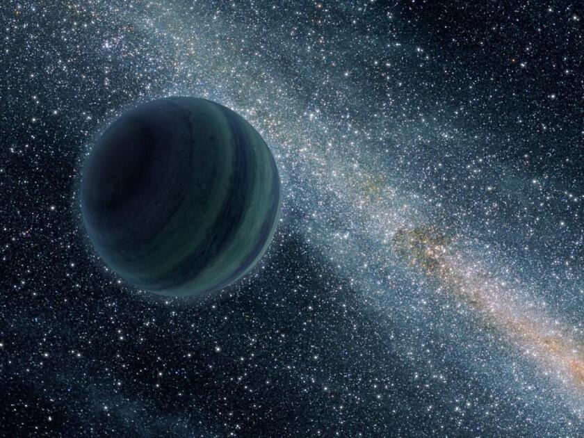 This artist's conception illustrates a gas giant planet alone in the dark of space, ejected from its own star system. Astronomers think our solar system might hold a distant ninth planet, hurled to the fringes during the solar system's early evolution.