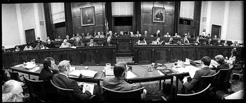The House Judiciary Committee meets to consider the impeachment of Richard Nixon in July 1974.