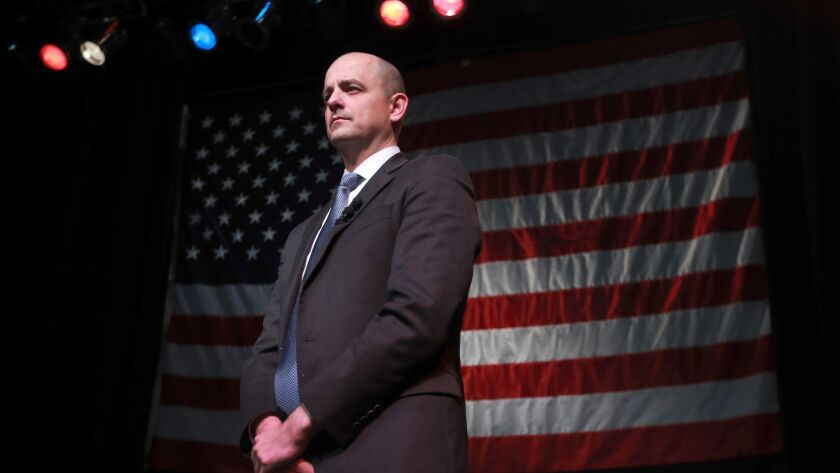 Independent presidential candidate Evan McMullin waits to speak to supporters at an election night party on Nov. 8, 2016, in Salt Lake City.