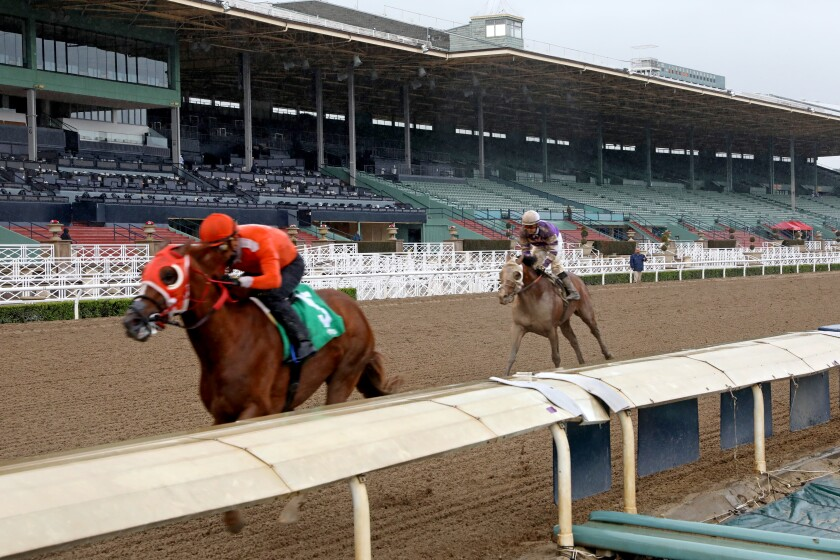 Kadesh, ridden by Abel Cedillo, wins the fourth race March 14 at Santa Anita on a day when the track was closed to fans because of the coronavirus.