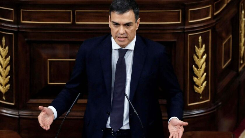 Pedro Sanchez, who will replace Mariano Rajoy as prime minister, speaks during a debate on a no-confidence motion in the lower house of the Spanish parliament in Madrid.