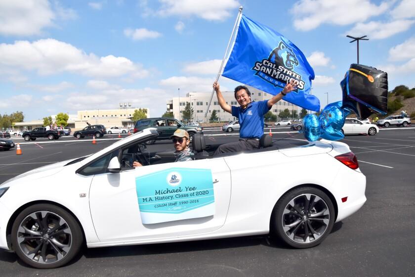 Graduate Michael Yee of Poway riding in California State University San Marcos' graduation parade.