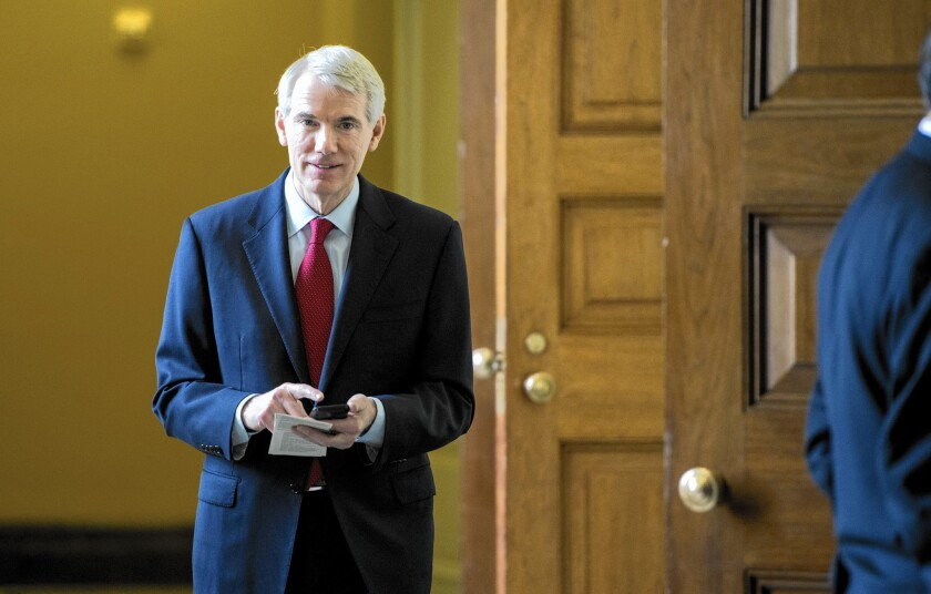 Sens. Rob Portman (R-Ohio), above, and Charles E. Schumer (D-N.Y.), unveiled the set of international tax principles last week.