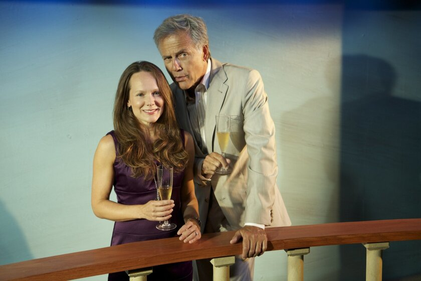"Carla Harting and Mark Pinter star in North Coast Rep's production of ""Becky's New Car."""