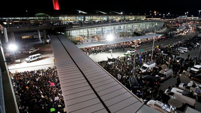 Protest at New York's JFK International Airport against President Trump's immigration ban