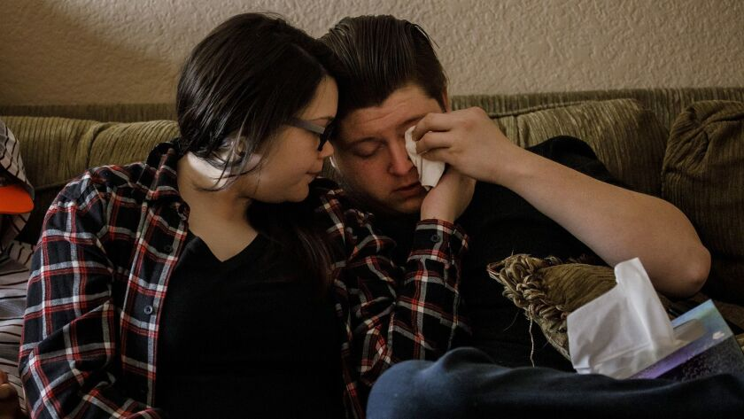 APPLEGATE, CALIF. -- WEDNESDAY, NOVEMBER 14, 2018: Alexandria Wilson, 21, consoles her her boyfriend