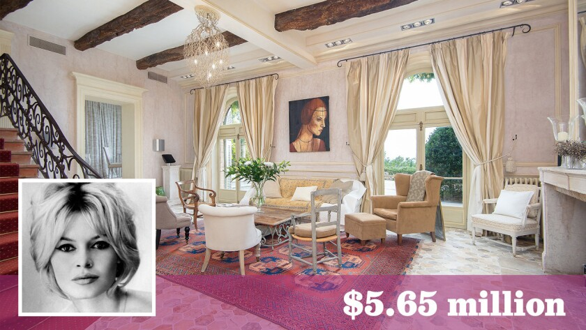 The country estate in southeastern France, listed for about $5.65 million, was once owned by actress-model Brigitte Bardot.