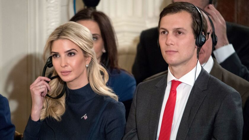 Ivanka Trump, daughter of President Trump, and her husband Jared Kushner attend a news conference with German Chancellor Angela Merkel in the White House in March 2017.