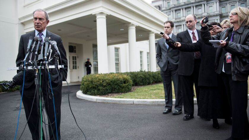 Former New York mayor Michael Bloomberg, shown speaking to reporters outside the White House in February 2013, said Tuesday he would not run for president in 2020.