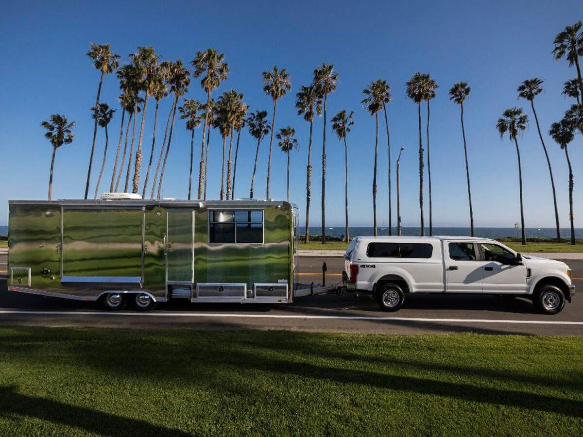 The Living Vehicle, which is designed to be a permanent residence, on the go at Cabrillo Beach in Santa Barbara.