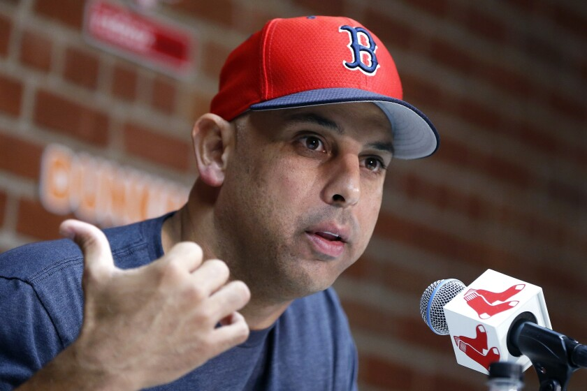 Boston Red Sox manager Alex Cora talks about the dismissal of president of baseball operations Dave Dombrowski, during a news conference before the team's game against the New York Yankees in Boston on Sept. 9, 2019.