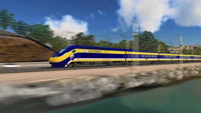 An artist's rendering of a California high-speed rail train.