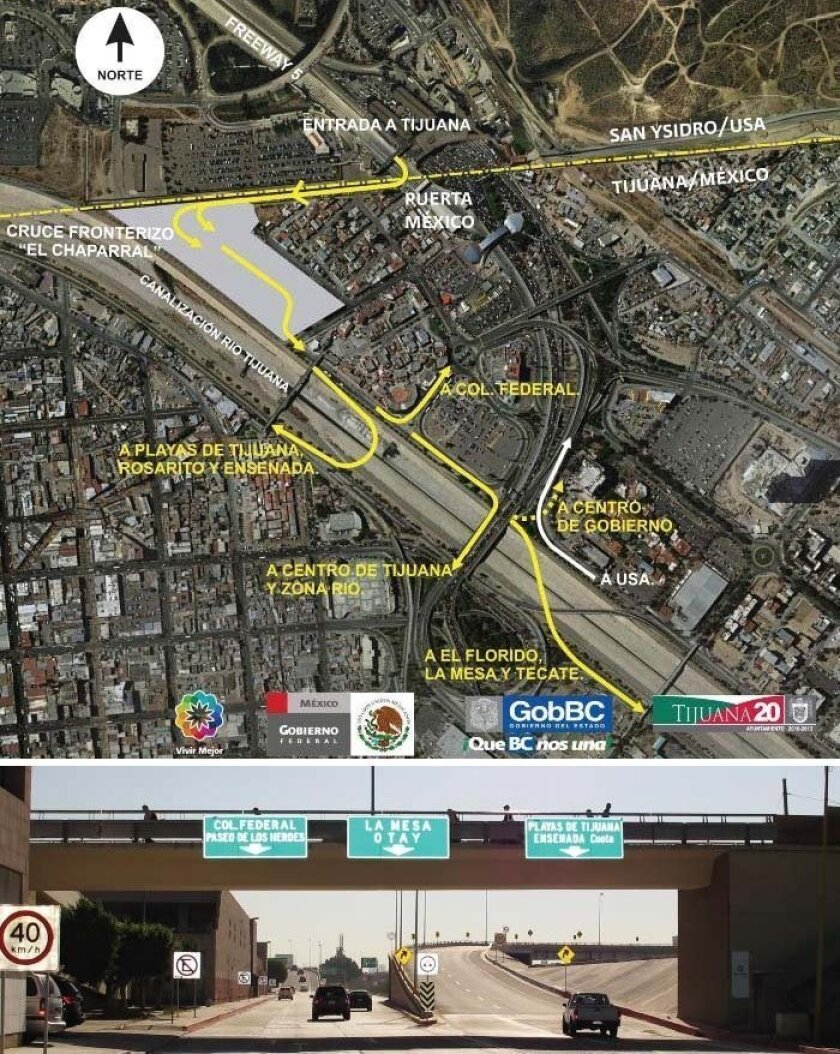 A map shows the location of El Chaparral, and the different Tijuana exits.