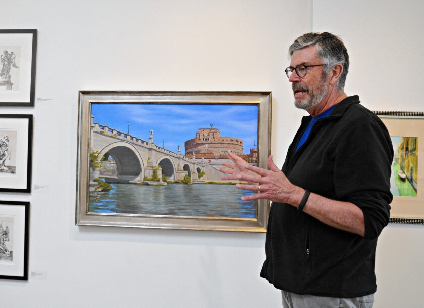"Brad Neal, a Laguna College of Art and Design student, discusses his oil on linen painting entitled, ""Castel and Ponte Sant'Angelo,"" at the LCAD Gallery in Laguna Beach."