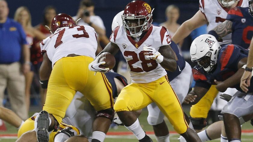 Southern California running back Aca'Cedric Ware (28) in the first half during an NCAA college footb