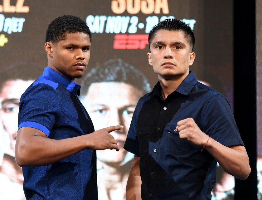 Shakur Stevenson, left, and Joet Gonzalez pose for a photo during a news conference on Sept. 13, 2019, in Las Vegas.