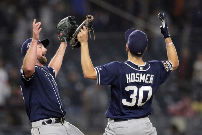 Padres closer Kirby Yates, here celebrating one of his 27 saves with first baseman Eric Hosmer, is headed to his first career All-Star game.