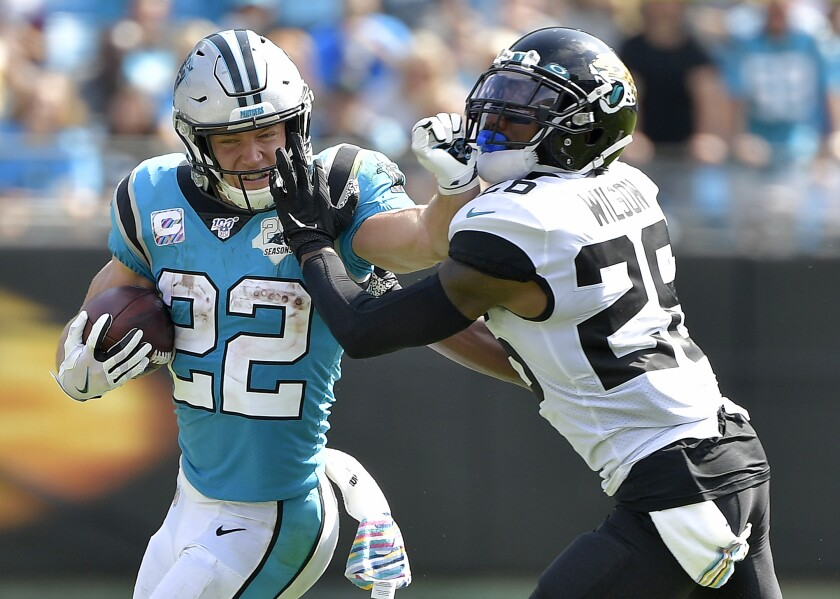 Carolina Panthers running back Christian McCaffrey (22) has compiled 866 yards from scrimmage to open the season. It is the second-most in NFL history since 1950, behind only Jim Brown's 988 in 1963.