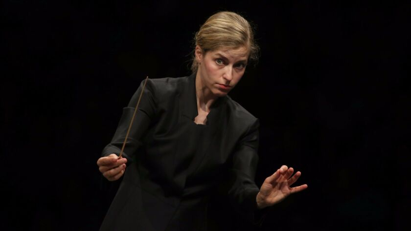 Karina Canellakis conducts the Los Angeles Philharmonic through a Mendelssohn program Tuesday at the Hollywood Bowl.