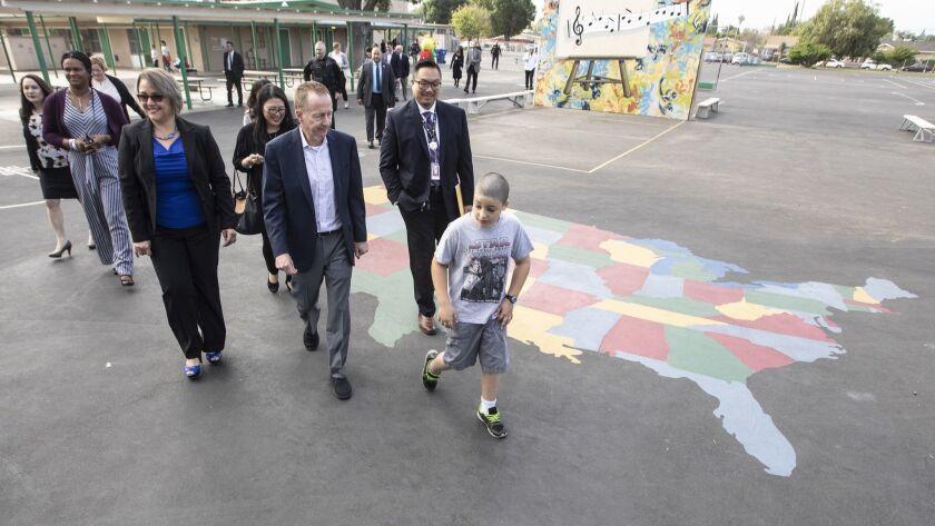 LOS ANGELES, CALIF. -- TUESDAY, MAY 15, 2018: New L.A. schools Supt. Austin Beutner turn Napa Stree