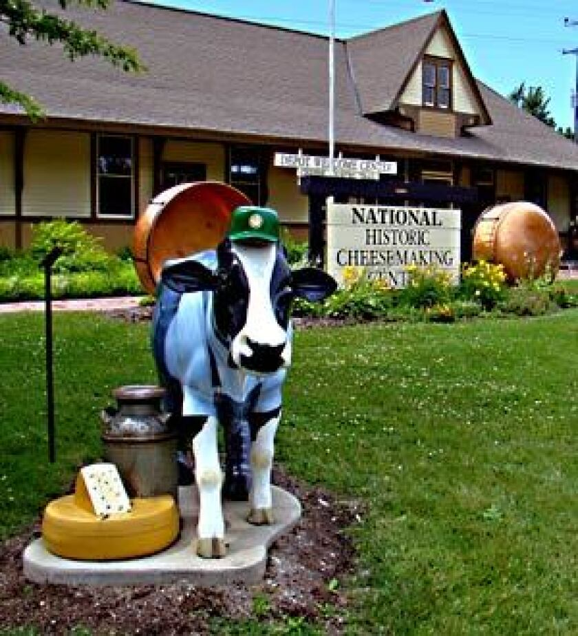 A MOOVING EXPERIENCE: A cow replica welcomes visitors to the National Historic Cheesemaking Center in Monroe, Wis.