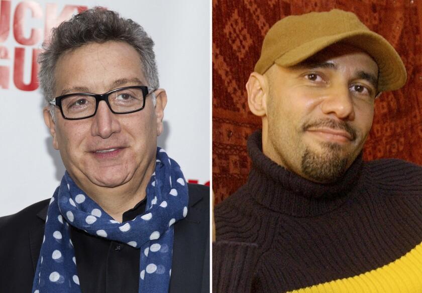 En esta combinación de fotos, Moisés Kaufman, y Nilo Cruz posa en su apartamento