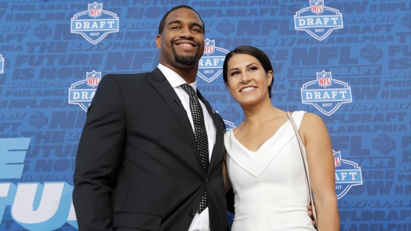 Alabama's Jonathan Allen arrives for the first round of the 2017 NFL football draft.