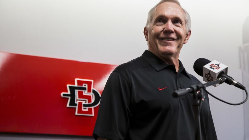 SDSU head football coach Rocky Long responds to questions from the media during the 2018 Media Day.