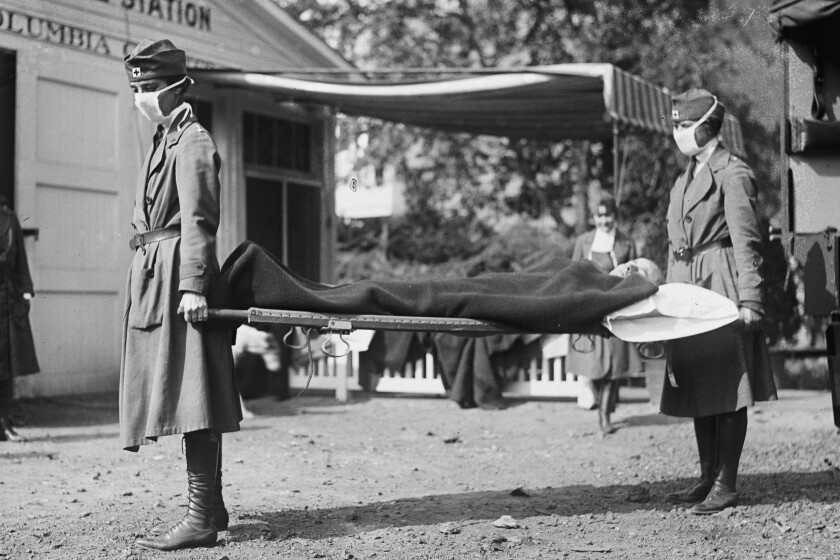 A demonstration at the Red Cross Emergency Ambulance Station in Washington during the influenza pandemic of 1918.