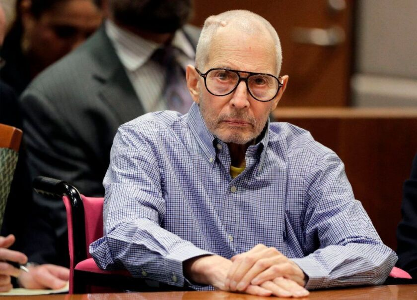 In this Dec. 21, 2016 file photo, Robert Durst sits in a courtroom in Los Angeles. A judge on Thursday, Oct. 25, 2018, ruled there's enough evidence to try the 75-year-old multimillionaire for the shooting death of Susan Berman at her home in 2000. Durst has pleaded not guilty.