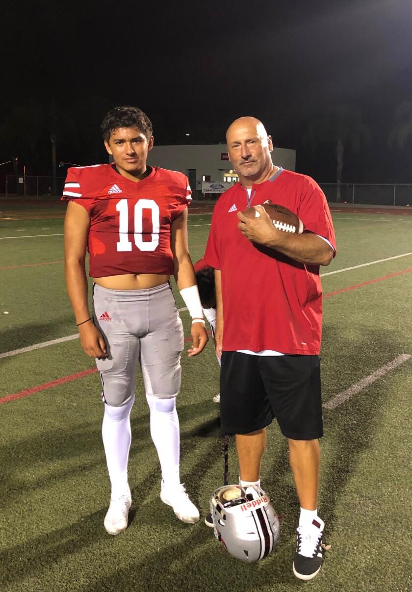 Rancho Verde quarterback AJ Duffy (and his father, coach Pete Duffy.
