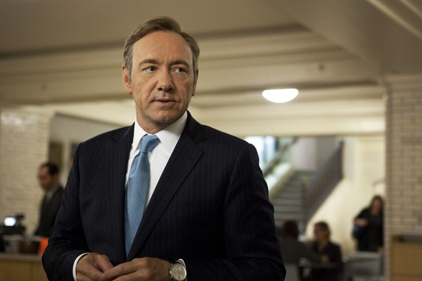 """Kevin Spacey as U.S. Congressman Frank Underwood in """"House of Cards."""""""
