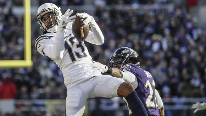 BALTIMORE, MD, SUNDAY, JANUARY 6, 2019 - Chargers receiver Keenan Allen pulls down a 17-yard pass ov