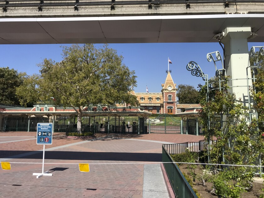 The entrance to Disneyland, empty of people