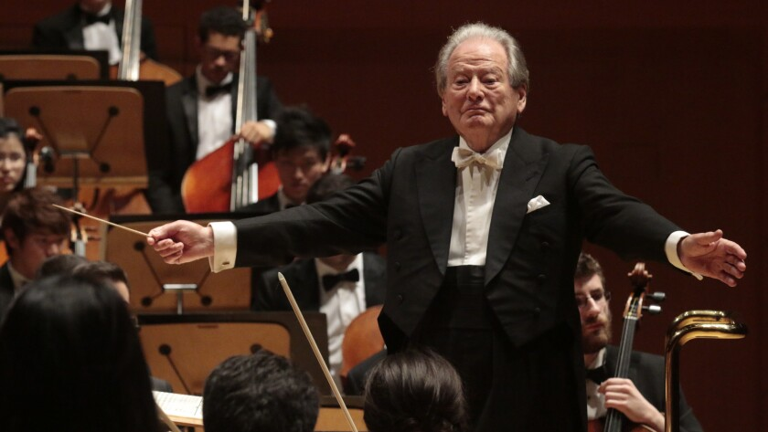 Neville Marriner, at age 90, conducting the Colburn Orchestra at Walt Disney Concert Hall in 2015 in what would be his final visit to Los Angeles.