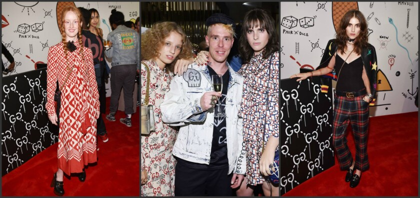 India Menuez, left, Petra Collins, Trouble Andrew and Hari Nef, and Langley Fox at the GucciGhost global launch event.